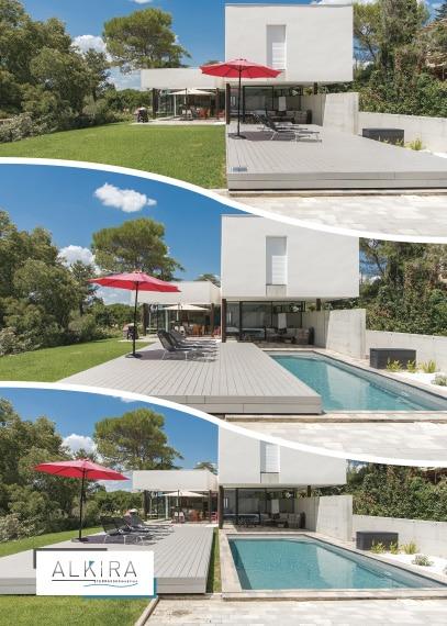 Terrasse mobile piscine position ouverte et fermée